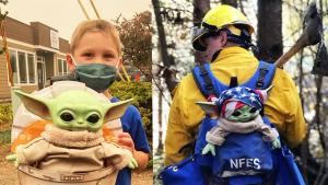 Oregon Firefighters Have Fun With Baby Yoda Doll Donated by 5-Year-Old Boy