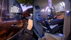 Quick-Thinking Officer Breaks Into Car to Save Baby Left Inside Alone in Heat