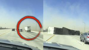 Strong Winds Knock Over Big Rig Truck in California Firestorm