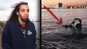 Man With 1 Leg Jumps Into Water to Rescue Driver in Sinking Car