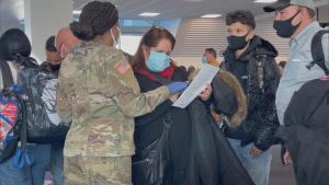 National Guard Soldiers Enforce Travel Restrictions at Laguardia Airport