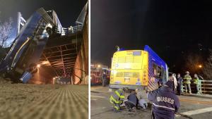 New York City Bus Hangs 50 Feet Off Overpass