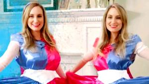 Pregnant Twin Sisters Married to Twins Wear Matching Gowns for Gender Reveal