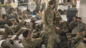 National Guardsmen Forced to Sleep in Parking Garage With Overflowing Porta Potty