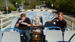 Prince Harry Tours Los Angeles With James Corden on a Double Decker Bus