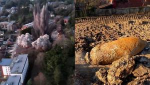 Police Drone Shows Size of German WWII Bomb Detonation in English City of Exeter