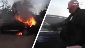 Man Rescued From Burning Car After Police Use Fire Extinguisher to Break Window