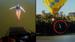 Australian Woman Becomes 1st in the World to Dive From Moving Hot Air Balloon