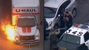 U-Haul Truck Bursts Into Flames During Police Chase Through California Streets
