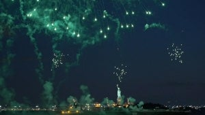 Fireworks Over Statue of Liberty Celebrate End to New York COVID-19 Restrictions