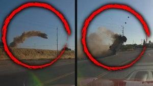 Car Flying Between Power Lines on California Highway Looks Like Movie Stunt