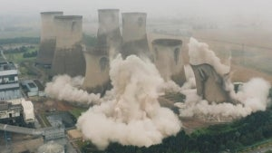 Giant Coal-Plant Cooling Towers Demolished in Yorkshire, England