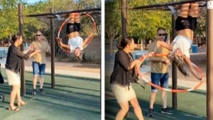 World Hula Hooping Champion Gets Screamed at by 'Karen' on Monkey Bars