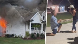 Man Pulls Engagement Ring From the Ashes of Burnt Down House to Propose