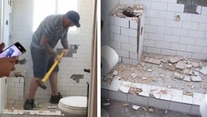 Contractor Smashes New Bathroom to Bits With Sledgehammer Over Payment Dispute