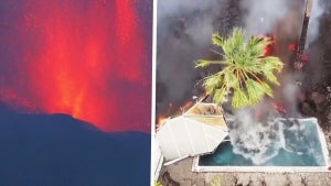Lava Flows Into Private Pool After Volcano Erupts on Spain's Canary Islands