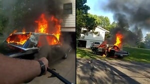 Deputy Listens to Classical Music as He Tows Burning Car Away From House