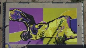 Kobe Bryant Honored With Painted Basketball Court in Balaguer, Spain