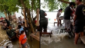Diners Sit in More Than a Foot of Water at Flood-Themed Cafe in Thailand