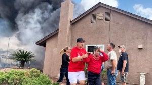 Neighbors Scramble After Plane Crashes on Their Street Setting Houses Ablaze