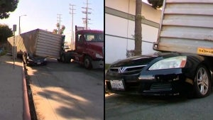 Shipping Container Destroys Car Near Port of Los Angeles in California
