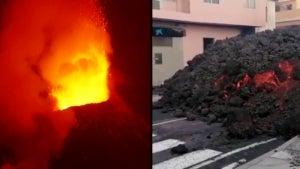 Wall of 1,700-Degree Lava Oozes Through Street in Spain's La Palma Island