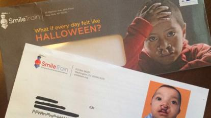 "A mailer sent by SmileTrain earlier this month reads: ""What if every day felt like Halloween?"""