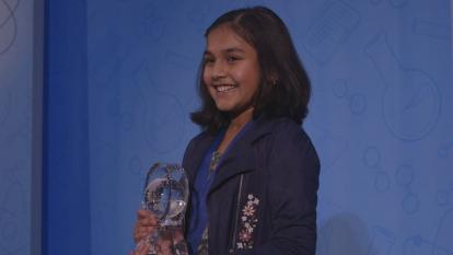 "Gitanjali Rao accepts her ""America's Top Young Scientist"" award."