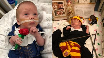 Preemies dressed up for their first Halloween.