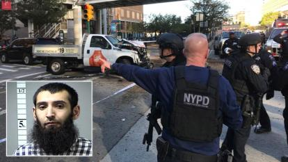 Suspect Sayfullo Saipov, inset, was hospitalized after the attack.