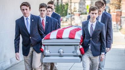 The teens served as pallbearers at the service