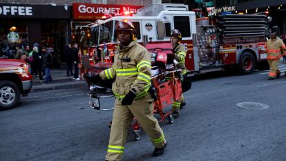Firefighters respond to the scene in NYC.