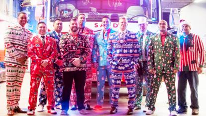 Firefighters get dressed up in festive suits in time for the holidays.