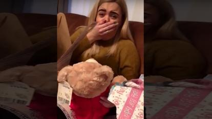 A British woman was overcome by the gift of bear containing her grandmother's voice.