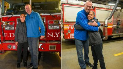 A retired FDNY firefighter reunited with woman he saved when she was 6.