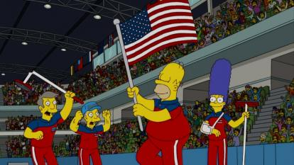 The episode featured Homer and Marge as teammates on the Olympic curling team that wound up taking home a gold medal.