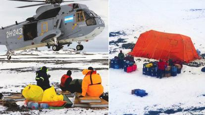 A group of American scientists are rescued after being stranded in Antarctica.