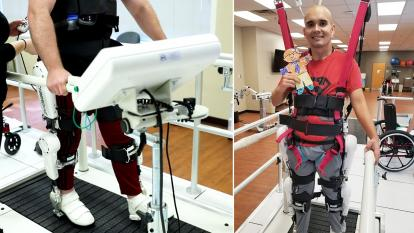 A robotic exoskeleton controled neurologically is helping Derrik Amaron and Maverick Moody learn to walk again.