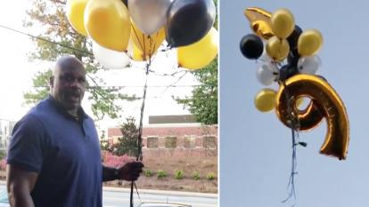 Shaq released $500 into the skies of Atlanta to celebrate his 46th birthday.