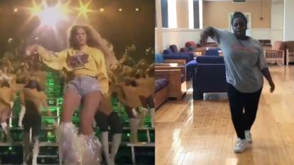 Beyonce fan busts all of Beyonce's moves from Coachella.