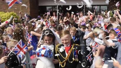 School children in Britain staged their own pint-sized royal wedding.