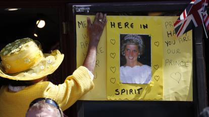 Diana poster at the royal wedding