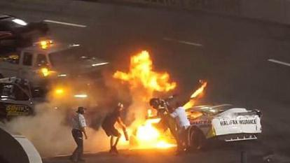 Race car driver Mike Jones was pulled from his burning vehicle by his father.