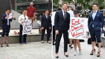 Octavio Duran (far right) was one of the many men who have taken to the streets in pumps for Walk a Mile in Her Shoes, a movement meant to shed line on domestic and sexual violence women across the world face.