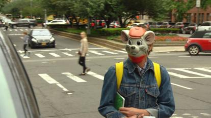 "Andy Spade wore the mask of the mouse Bernard, voiced by Bob Newhart in the 1977 cartoon movie, ""The Rescuers,"" as he left the Upper East Side building, two days after his wife hanged herself in the apartment."