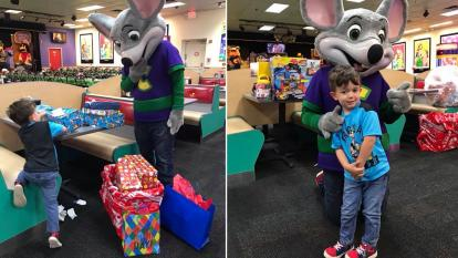 A little boy's birthday saved by Chuck E Cheese employees when no kids show up.