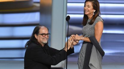 Glenn Weiss proposes on stage at the Emmys