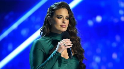 Ashley Graham pictured on stage at the Miss Universe competition in Thailand.