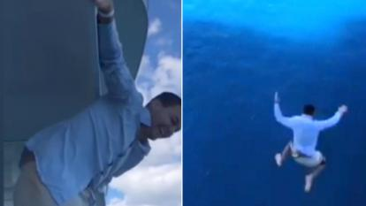 Nick Naydev, 27, hurled himself over the edge of the balcony to his 11th-floor room on the Symphony of the Seas and posted video of the leap on Instagram.