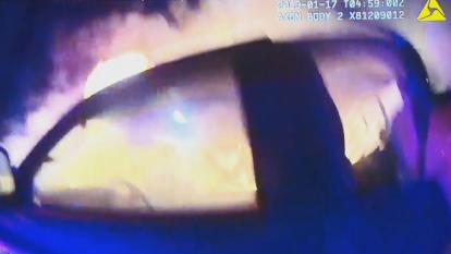 Police body cam captured the pulse-pounding moments a Texas woman had to be rescued from her flaming SUV following an accident.